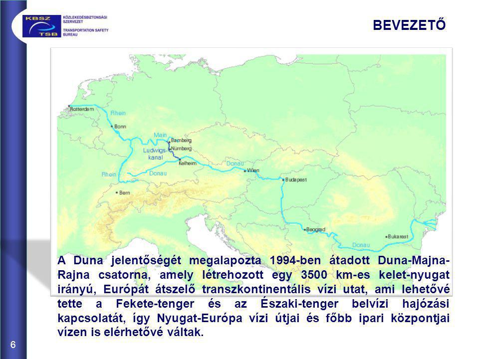 6 A Duna jelentőségét megalapozta 1994-ben átadott Duna-Majna- Rajna csatorna, amely létrehozott egy 3500 km-es kelet-nyugat irányú, Európát átszelő t