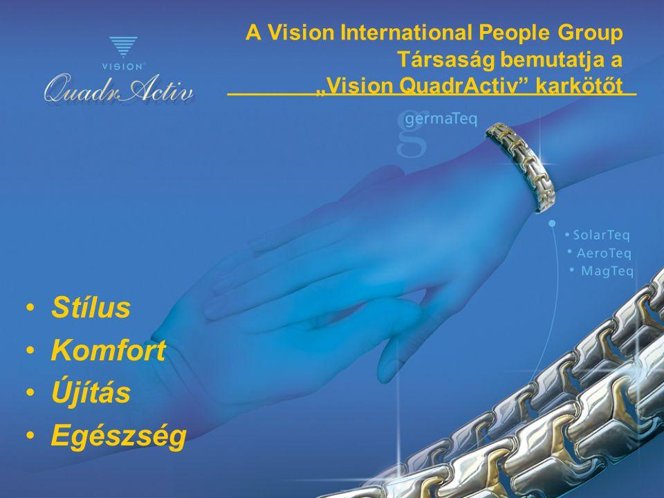 """A Vision International People Group Társaság bemutatja a """"Vision QuadrActiv"""" karkötőt •Stílus •Komfort •Újítás •Egészség"""