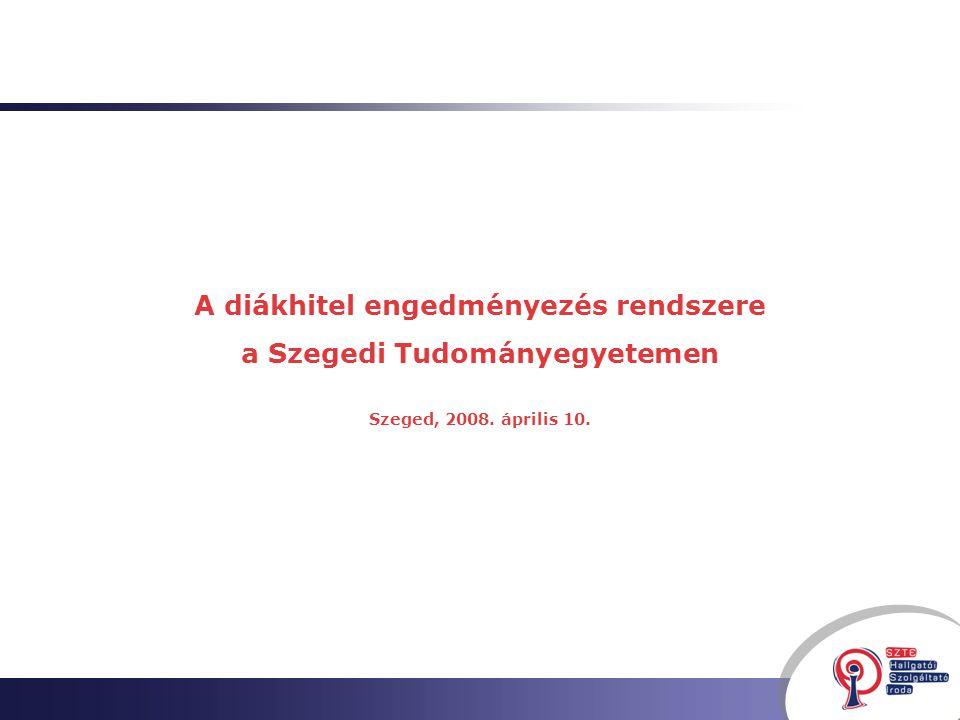 A diákhitel engedményezés rendszere a Szegedi Tudományegyetemen Szeged, 2008. április 10.