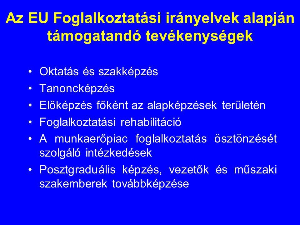 Az EU Foglalkoztatási irányelvek alapján támogatandó tevékenységek •Oktatás és szakképzés •Tanoncképzés •Előképzés főként az alapképzések területén •Foglalkoztatási rehabilitáció •A munkaerőpiac foglalkoztatás ösztönzését szolgáló intézkedések •Posztgraduális képzés, vezetők és műszaki szakemberek továbbképzése