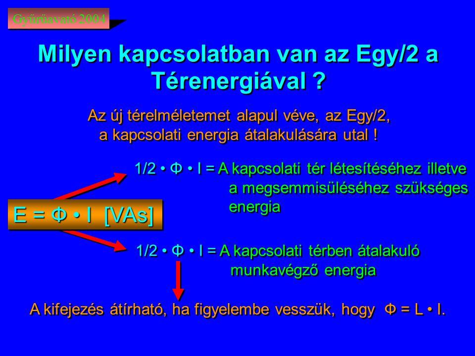 Gyűrűavató 2004 1/2 • Φ • I =A kapcsolati tér létesítéséhez illetve a megsemmisüléséhez szükséges energia 1/2 • Φ • I =A kapcsolati tér létesítéséhez illetve a megsemmisüléséhez szükséges energia A kifejezés átírható, ha figyelembe vesszük, hogy Ф = L • I.