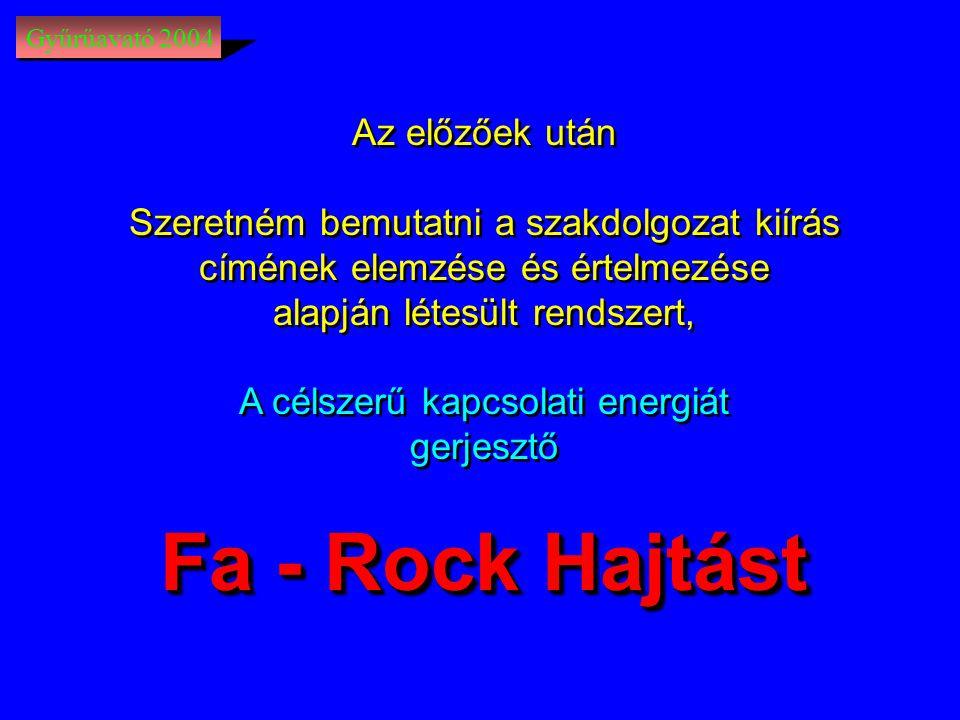 Gyűrűavató 2004 Az előzőek után Szeretném bemutatni a szakdolgozat kiírás címének elemzése és értelmezése alapján létesült rendszert, A célszerű kapcsolati energiát gerjesztő Fa - Rock Hajtást Az előzőek után Szeretném bemutatni a szakdolgozat kiírás címének elemzése és értelmezése alapján létesült rendszert, A célszerű kapcsolati energiát gerjesztő Fa - Rock Hajtást