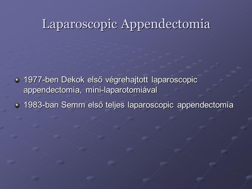 Laparoscopic Appendectomia 1977-ben Dekok első végrehajtott laparoscopic appendectomia, mini-laparotomiával 1983-ban Semm első teljes laparoscopic app