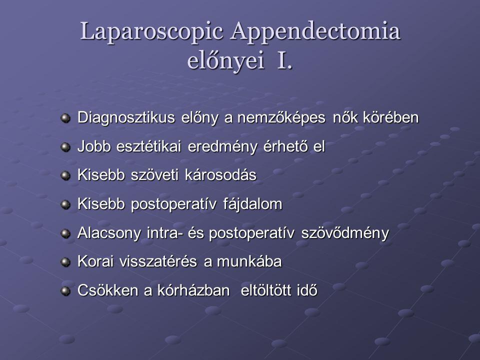 Laparoscopic Appendectomia előnyei I. Diagnosztikus előny a nemzőképes nők körében Jobb esztétikai eredmény érhető el Kisebb szöveti károsodás Kisebb