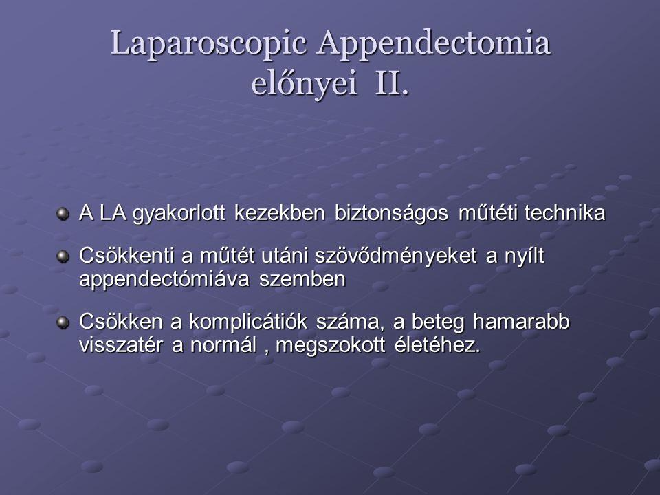 Realativ kontraindikációk Szövődményes koplikált appendicitis Perforált appendicitis Álatlános anaesthesia szempontjából magas kockázatú beteg Előzőleg elvégzett, kiterjedt kismedencei műtétek