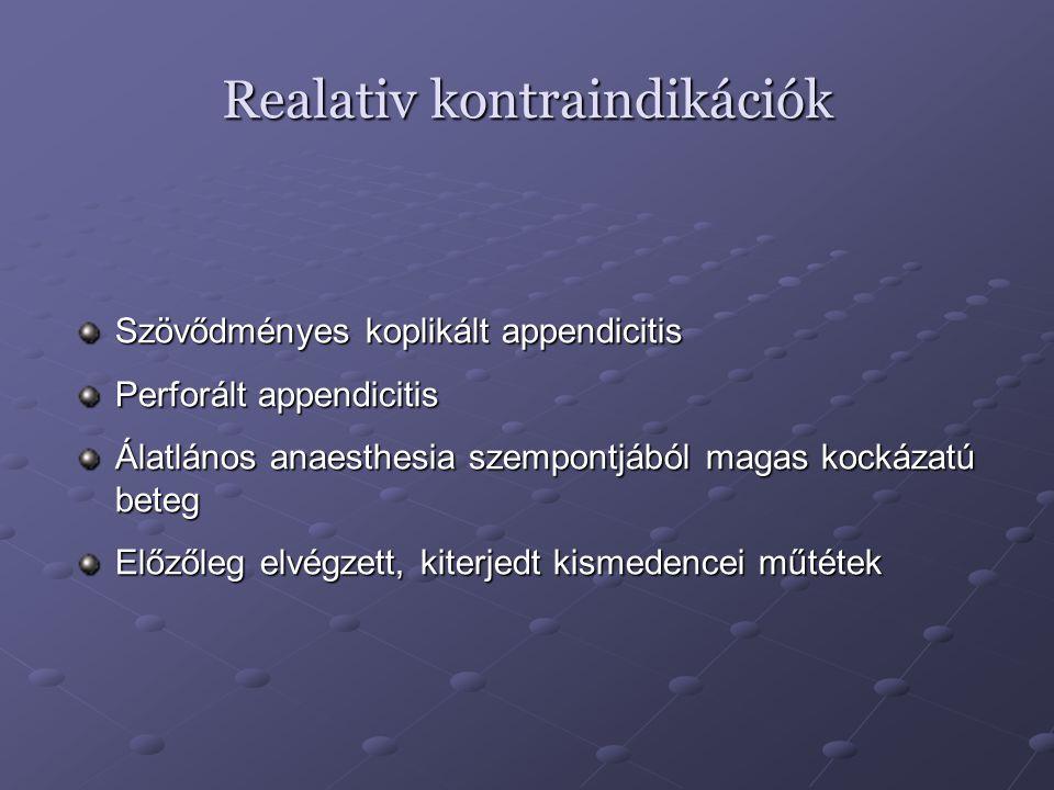 Realativ kontraindikációk Szövődményes koplikált appendicitis Perforált appendicitis Álatlános anaesthesia szempontjából magas kockázatú beteg Előzőle