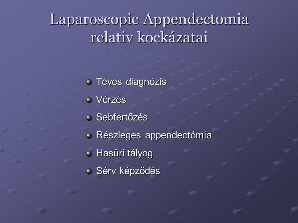 Laparoscopic Appedectomia indikációi Reproduktiv korú nők esetében Menopausa előtti nők esetén Appendicitis gyanuja Fizikai munkát végzők Elhizott betegekű Májcirrhosis és sarlósejtes anemia estén Immunbetegségben szenvedőknél Bizonytalan jobb alhasi fájdalom