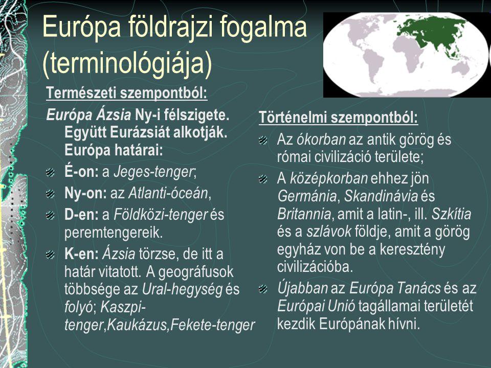 Európa földrajzi fogalma (terminológiája) Természeti szempontból: Európa Ázsia Ny-i félszigete.