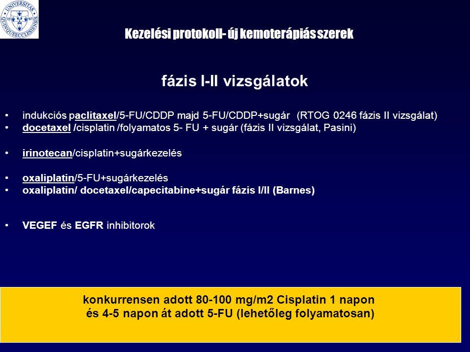 Kezelési protokoll- új kemoterápiás szerek fázis I-II vizsgálatok •indukciós paclitaxel/5-FU/CDDP majd 5-FU/CDDP+sugár (RTOG 0246 fázis II vizsgálat) •docetaxel /cisplatin /folyamatos 5- FU + sugár (fázis II vizsgálat, Pasini) •irinotecan/cisplatin+sugárkezelés •oxaliplatin/5-FU+sugárkezelés •oxaliplatin/ docetaxel/capecitabine+sugár fázis I/II (Barnes) •VEGEF és EGFR inhibitorok konkurrensen adott 80-100 mg/m2 Cisplatin 1 napon és 4-5 napon át adott 5-FU (lehetőleg folyamatosan)
