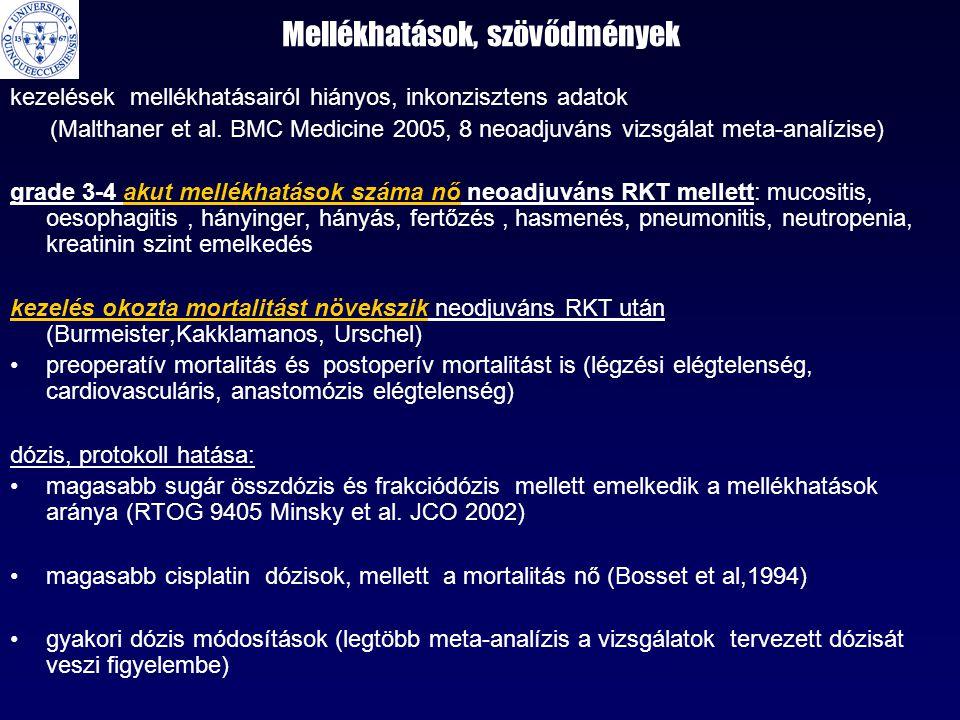 Mellékhatások, szövődmények kezelések mellékhatásairól hiányos, inkonzisztens adatok (Malthaner et al. BMC Medicine 2005, 8 neoadjuváns vizsgálat meta