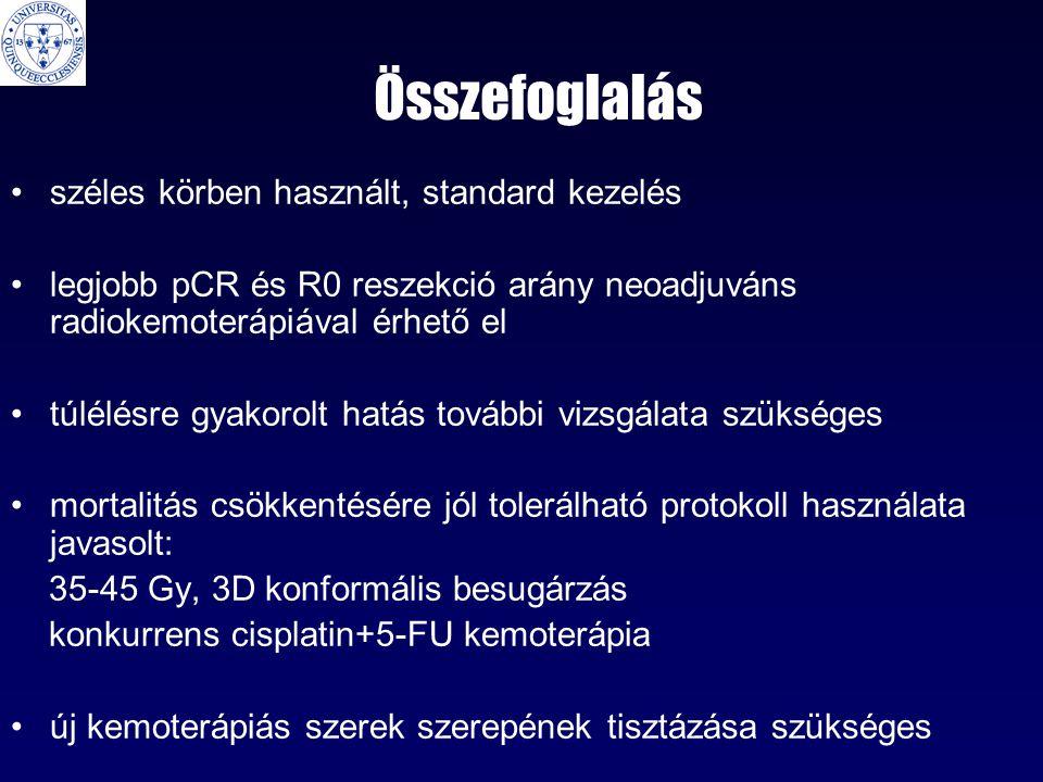 Összefoglalás •széles körben használt, standard kezelés •legjobb pCR és R0 reszekció arány neoadjuváns radiokemoterápiával érhető el •túlélésre gyakorolt hatás további vizsgálata szükséges •mortalitás csökkentésére jól tolerálható protokoll használata javasolt: 35-45 Gy, 3D konformális besugárzás konkurrens cisplatin+5-FU kemoterápia •új kemoterápiás szerek szerepének tisztázása szükséges