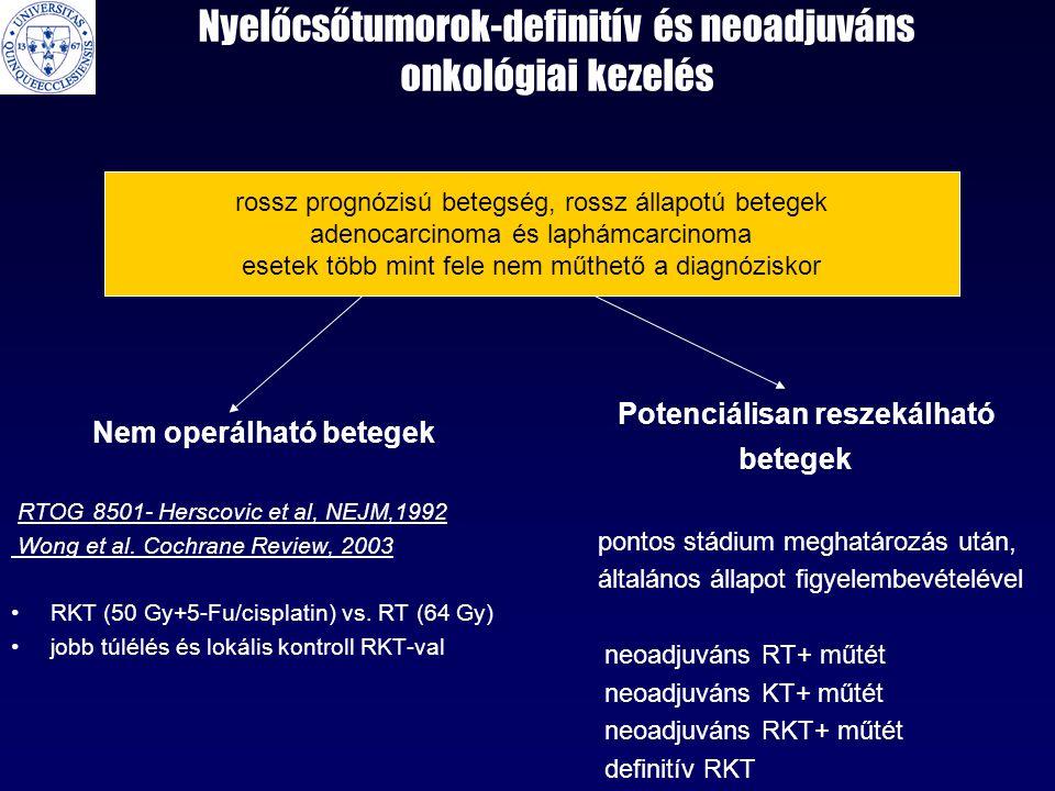 Nyelőcsőtumorok-definitív és neoadjuváns onkológiai kezelés Nem operálható betegek RTOG 8501- Herscovic et al, NEJM,1992 Wong et al. Cochrane Review,