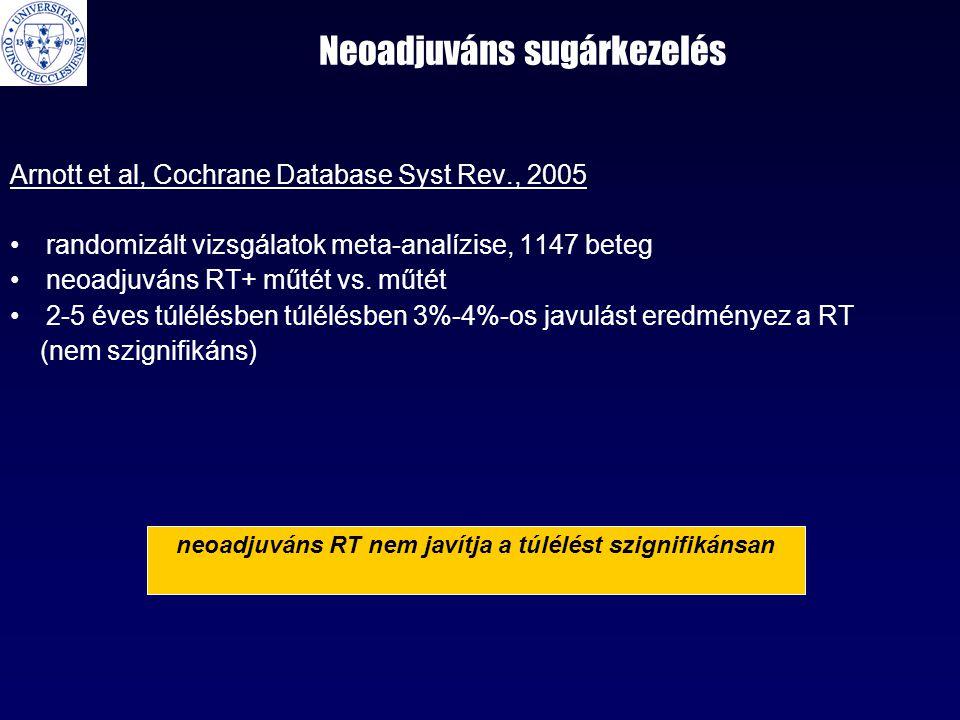 Neoadjuváns sugárkezelés Arnott et al, Cochrane Database Syst Rev., 2005 •randomizált vizsgálatok meta-analízise, 1147 beteg •neoadjuváns RT+ műtét vs