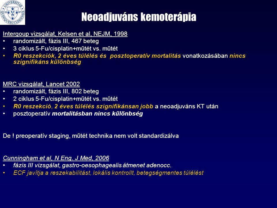 Neoadjuváns kemoterápia Intergoup vizsgálat, Kelsen et al, NEJM, 1998 •randomizált, fázis III, 467 beteg •3 ciklus 5-Fu/cisplatin+műtét vs. műtét •R0