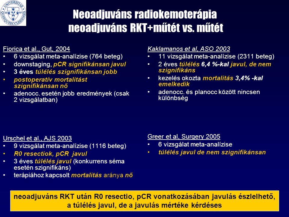Neoadjuváns radiokemoterápia neoadjuváns RKT+műtét vs. műtét Fiorica et al., Gut, 2004 •6 vizsgálat meta-analízise (764 beteg) •downstaging, pCR signi