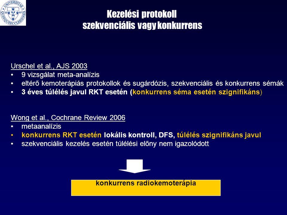Kezelési protokoll szekvenciális vagy konkurrens Urschel et al., AJS 2003 •9 vizsgálat meta-analízis •eltérő kemoterápiás protokollok és sugárdózis, szekvenciális és konkurrens sémák •3 éves túlélés javul RKT esetén (konkurrens séma esetén szignifikáns) Wong et al., Cochrane Review 2006 •metaanalízis •konkurrens RKT esetén lokális kontroll, DFS, túlélés szignifikáns javul •szekvenciális kezelés esetén túlélési előny nem igazolódott konkurrens radiokemoterápia
