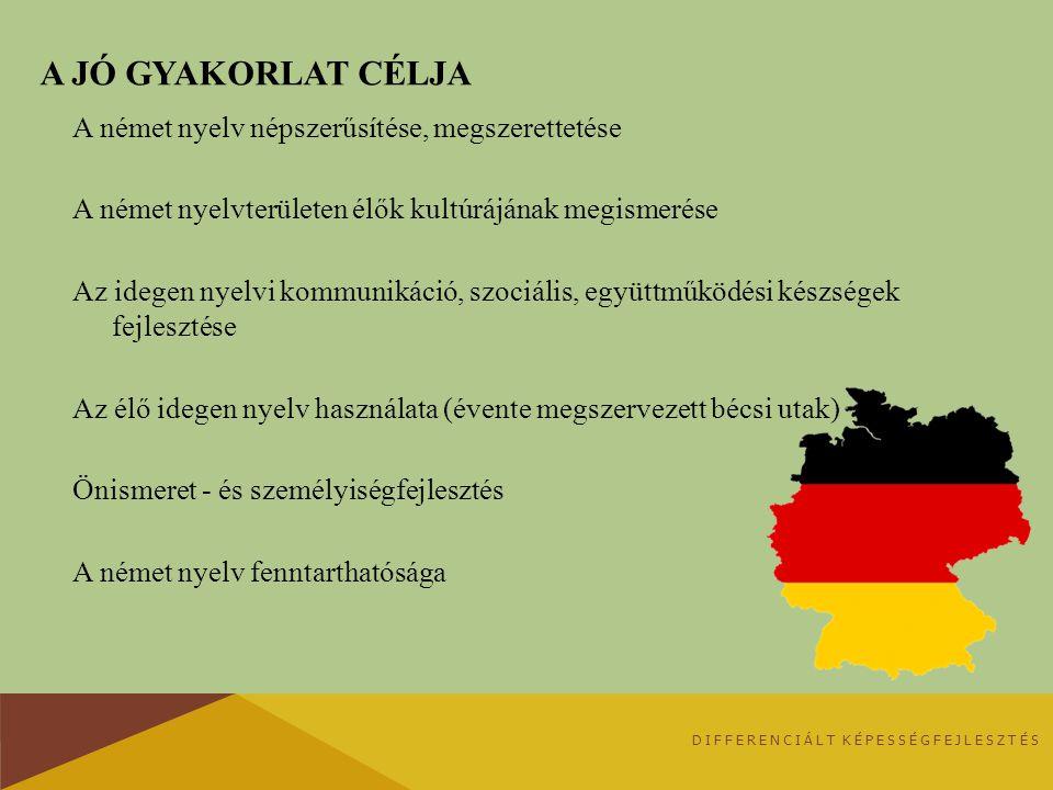 A JÓ GYAKORLAT CÉLJA A német nyelv népszerűsítése, megszerettetése A német nyelvterületen élők kultúrájának megismerése Az idegen nyelvi kommunikáció, szociális, együttműködési készségek fejlesztése Az élő idegen nyelv használata (évente megszervezett bécsi utak) Önismeret - és személyiségfejlesztés A német nyelv fenntarthatósága DIFFERENCIÁLT KÉPESSÉGFEJLESZTÉS