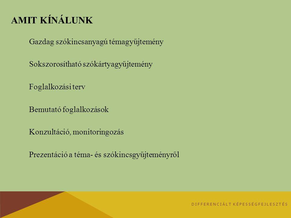 AMIT KÍNÁLUNK Gazdag szókincsanyagú témagyűjtemény Sokszorosítható szókártyagyűjtemény Foglalkozási terv Bemutató foglalkozások Konzultáció, monitorin