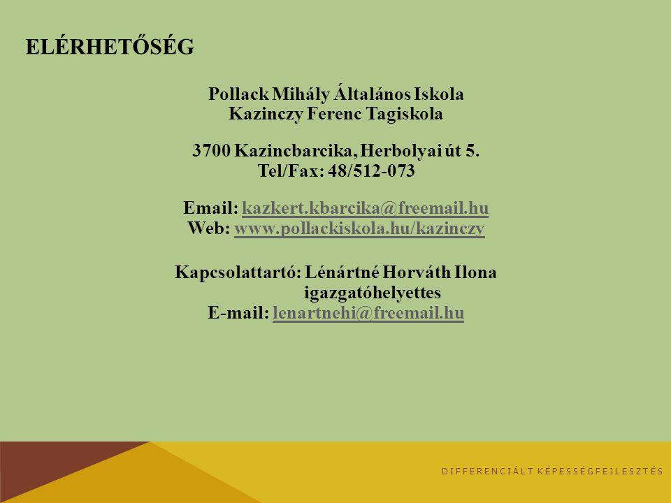 ELÉRHETŐSÉG Pollack Mihály Általános Iskola Kazinczy Ferenc Tagiskola 3700 Kazincbarcika, Herbolyai út 5. Tel/Fax: 48/512-073 Email: kazkert.kbarcika@