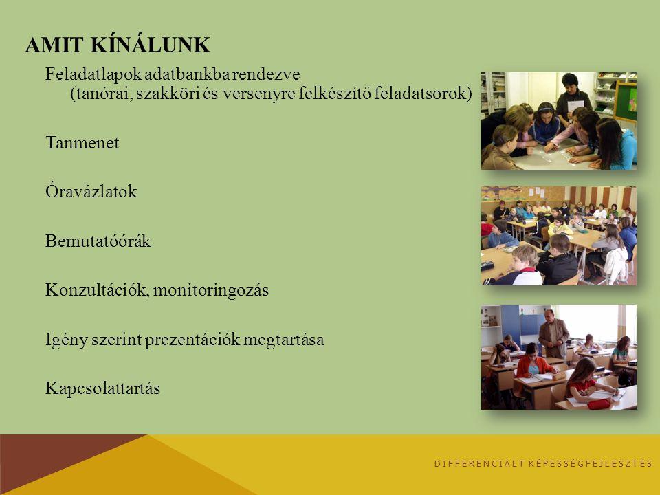 AMIT KÍNÁLUNK Feladatlapok adatbankba rendezve (tanórai, szakköri és versenyre felkészítő feladatsorok) Tanmenet Óravázlatok Bemutatóórák Konzultációk
