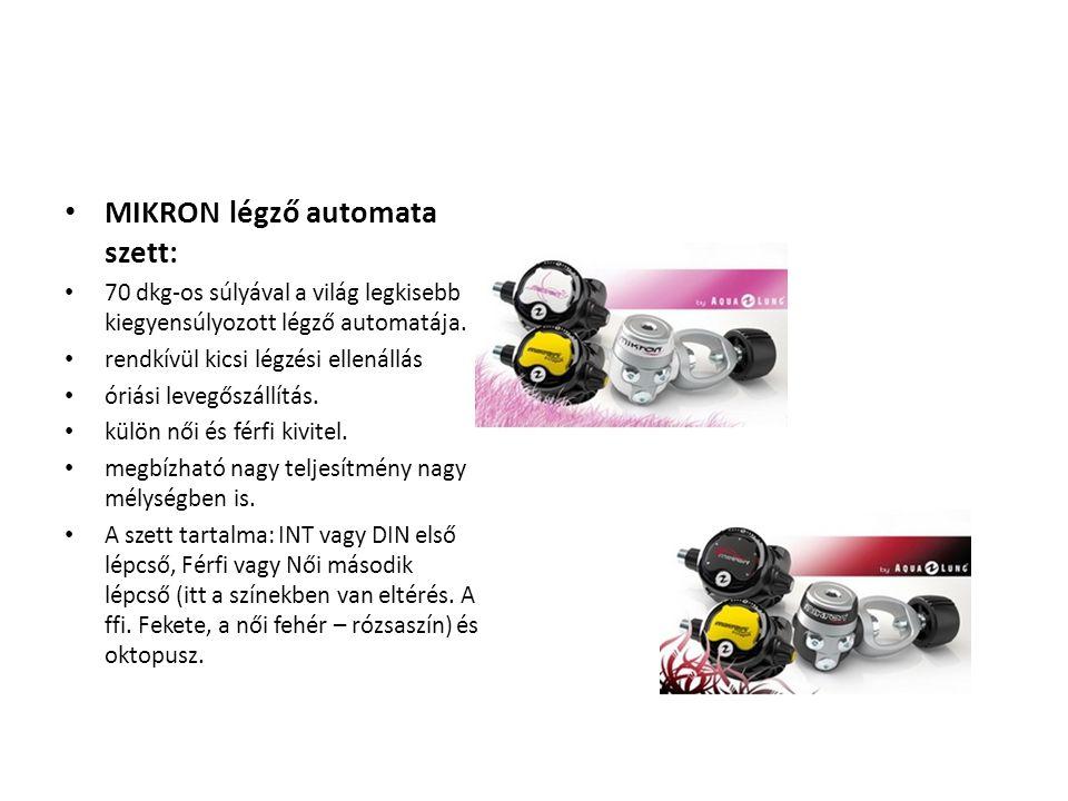 • MIKRON légző automata szett: • 70 dkg-os súlyával a világ legkisebb kiegyensúlyozott légző automatája. • rendkívül kicsi légzési ellenállás • óriási