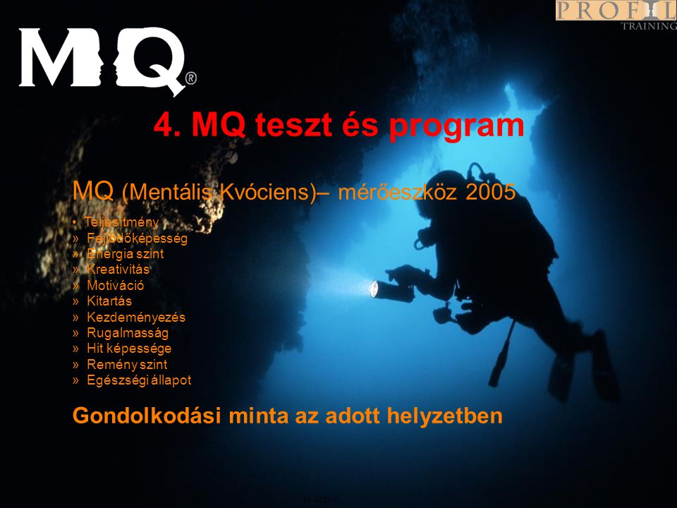 Program 01-0282-05 4. MQ teszt és program MQ (Mentális Kvóciens)– mérőeszköz 2005 • Teljesítmény » Fejlődőképesség » Energia szint » Kreativitás » Mot