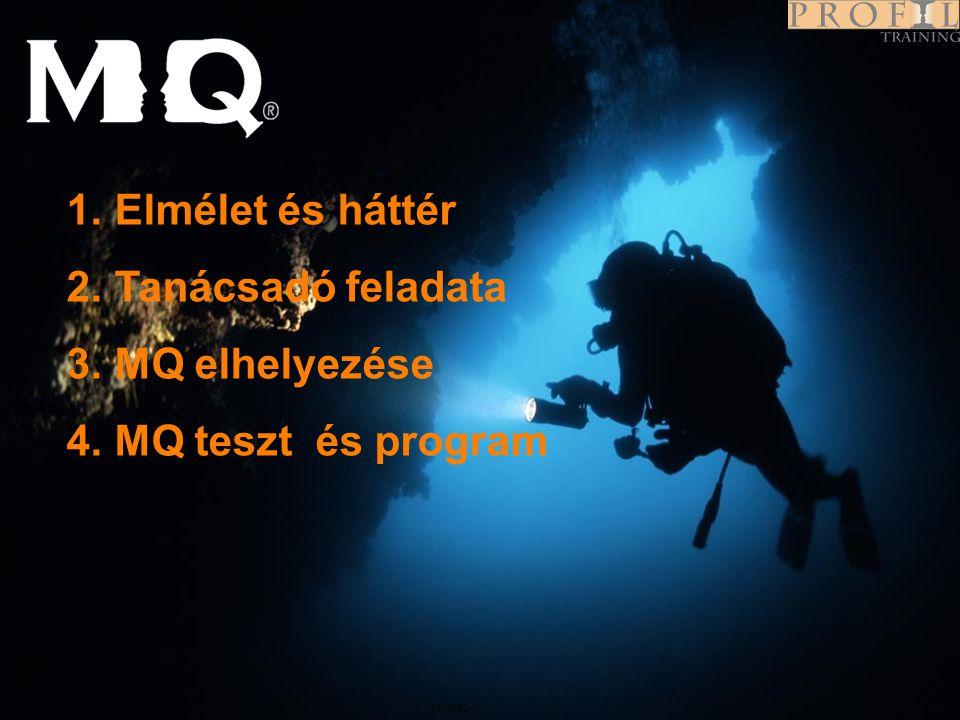 Program 01-0282-05 1.Elmélet és háttér 2.Tanácsadó feladata 3.MQ elhelyezése 4.MQ teszt és program