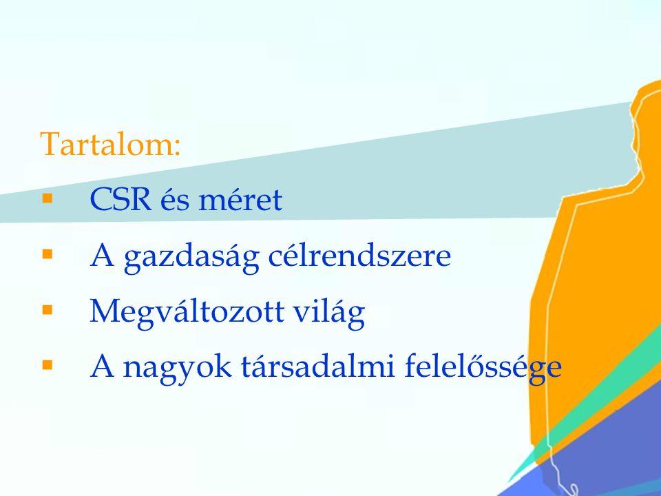 2 Tartalom:  CSR és méret  A gazdaság célrendszere  Megváltozott világ  A nagyok társadalmi felelőssége