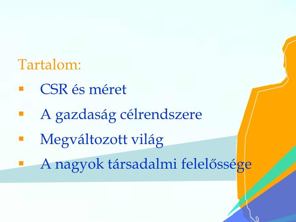 41 Tartalom:  CSR és méret  A gazdaság célrendszere  Megváltozott világ  A nagyok társadalmi felelőssége