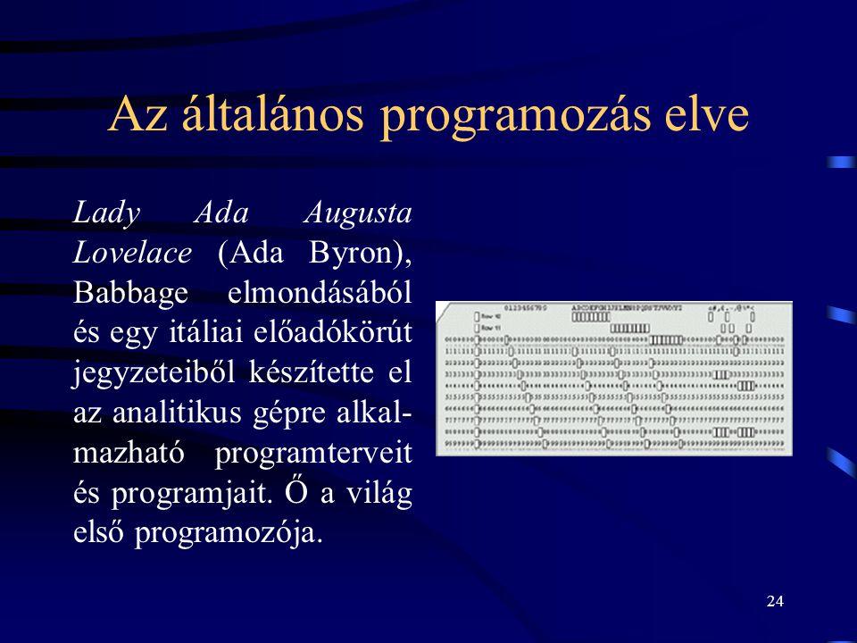 24 Az általános programozás elve Lady Ada Augusta Lovelace (Ada Byron), Babbage elmondásából és egy itáliai előadókörút jegyzeteiből készítette el az