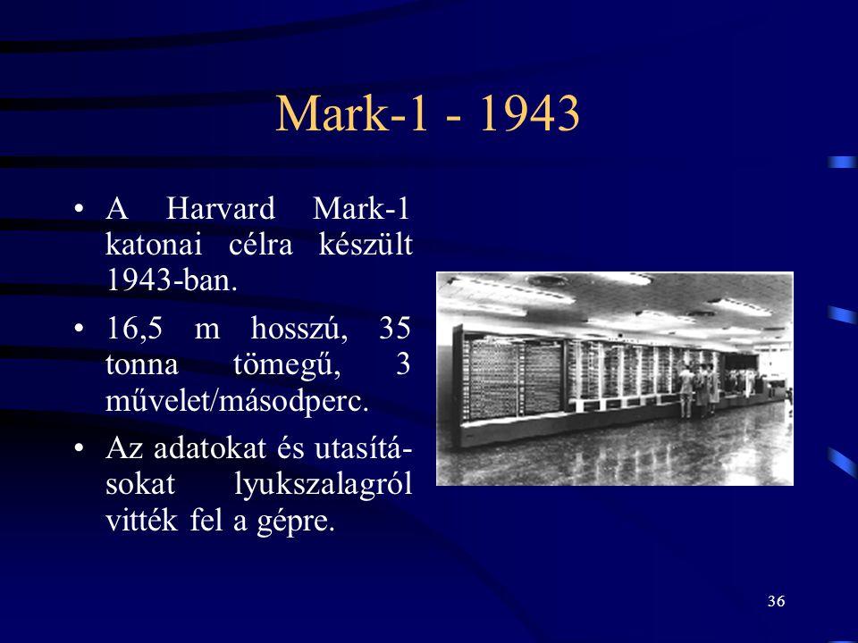 36 Mark-1 - 1943 •A Harvard Mark-1 katonai célra készült 1943-ban. •16,5 m hosszú, 35 tonna tömegű, 3 művelet/másodperc. •Az adatokat és utasítá- soka