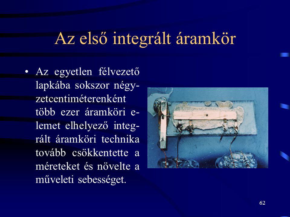 62 Az első integrált áramkör •Az egyetlen félvezető lapkába sokszor négy- zetcentiméterenként több ezer áramköri e- lemet elhelyező integ- rált áramkö