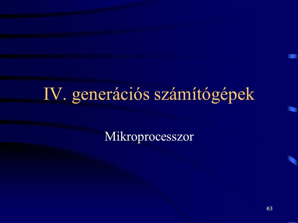 63 IV. generációs számítógépek Mikroprocesszor