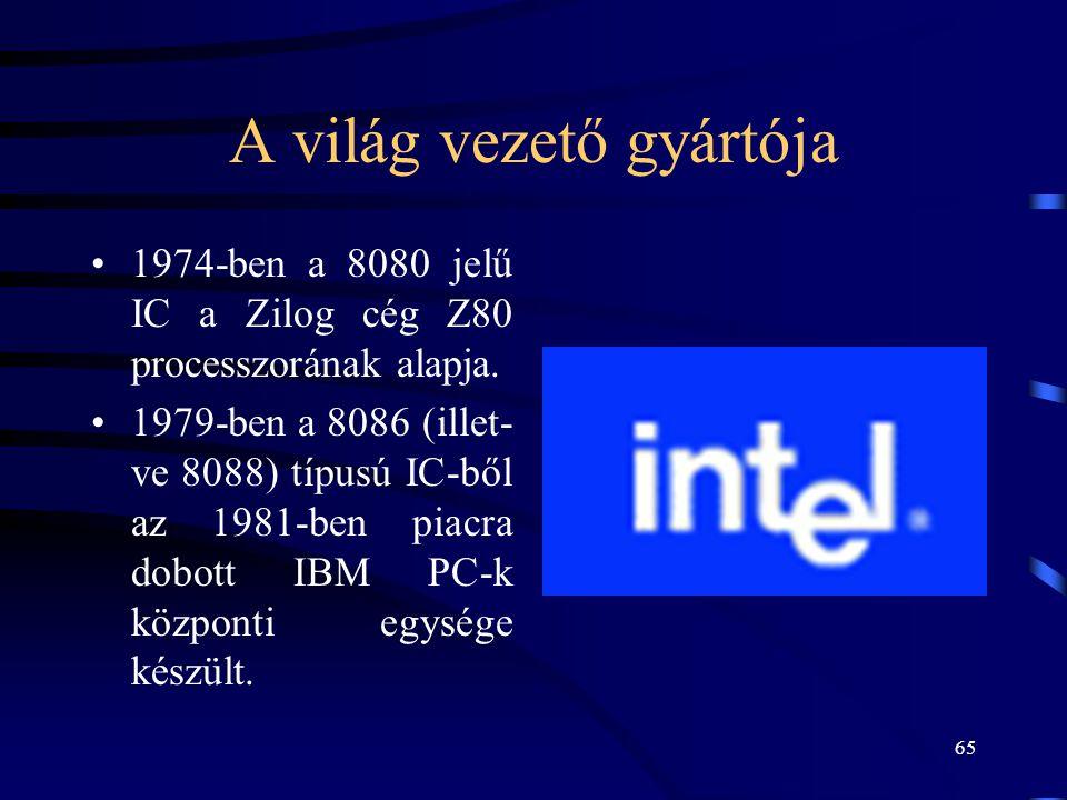 65 A világ vezető gyártója •1974-ben a 8080 jelű IC a Zilog cég Z80 processzorának alapja. •1979-ben a 8086 (illet- ve 8088) típusú IC-ből az 1981-ben