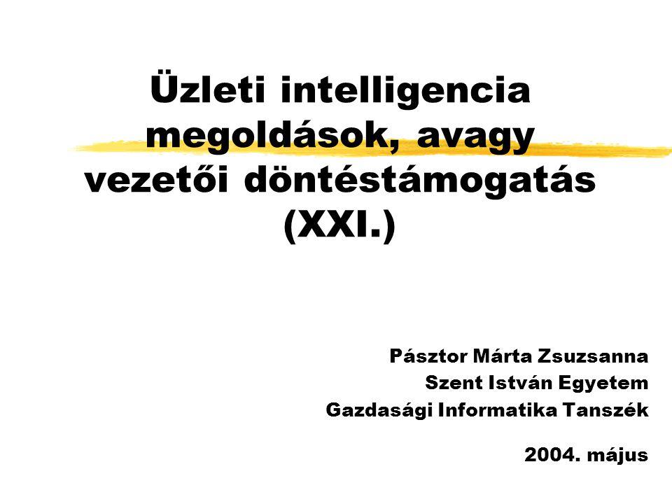 SEMMA zSampling (mintavételezés): külső és belső rendszerekből gyűjtött adatok leválogatása zExploration (feltárás): hiányzó vagy extrém elemek kiszűrése, esetleges adatösszevonások zModification, Manipulation (módosítás): hiányzó adatok pótlása, változók összevonása vagy elhagyása zModelling (modellezés): modellalkotás különféle számítási módszerekkel zAssessment (felmérés, kiértékelés): modellek összehasonlítása, válasz az üzleti kérdésekre