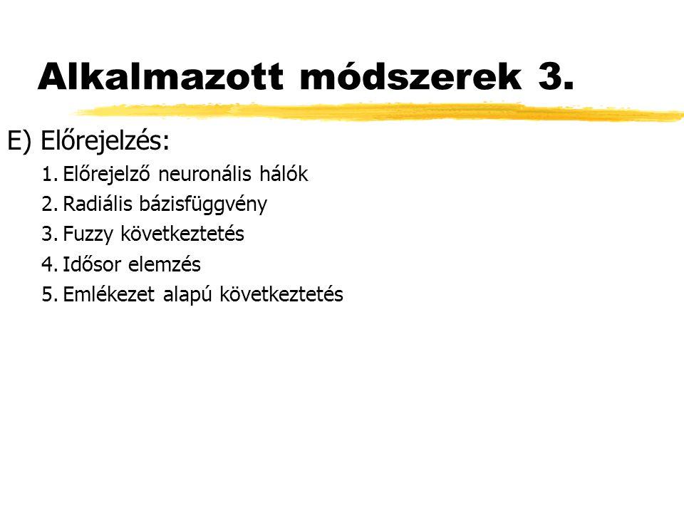 Alkalmazott módszerek 3. E) Előrejelzés: 1.Előrejelző neuronális hálók 2.Radiális bázisfüggvény 3.Fuzzy következtetés 4.Idősor elemzés 5.Emlékezet ala