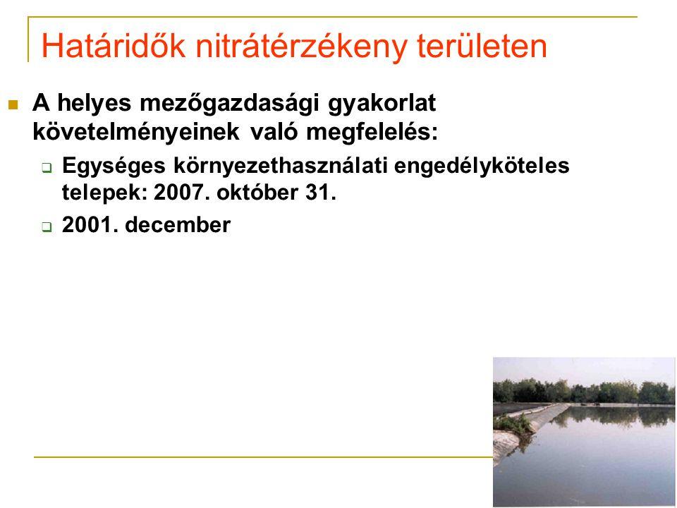 Határidők nitrátérzékeny területen  A helyes mezőgazdasági gyakorlat követelményeinek való megfelelés:  Egységes környezethasználati engedélyköteles telepek: 2007.