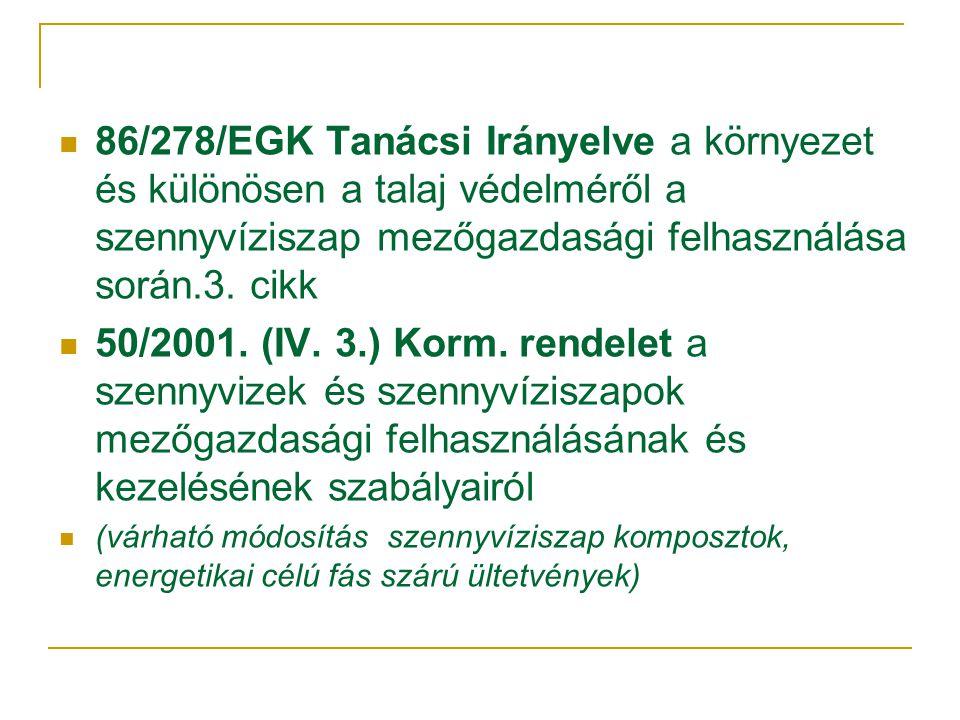  86/278/EGK Tanácsi Irányelve a környezet és különösen a talaj védelméről a szennyvíziszap mezőgazdasági felhasználása során.3.