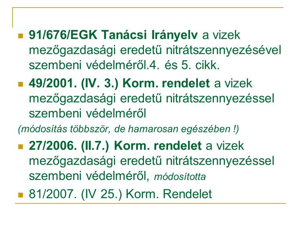  91/676/EGK Tanácsi Irányelv a vizek mezőgazdasági eredetű nitrátszennyezésével szembeni védelméről.4.