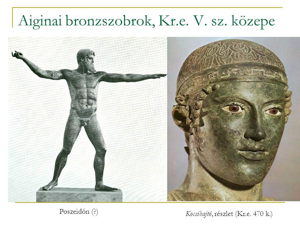 Aiginai bronzszobrok, Kr.e. V. sz. közepe Poszeidón (?) Kocsihajtó, részlet (Kr.e. 470 k.)