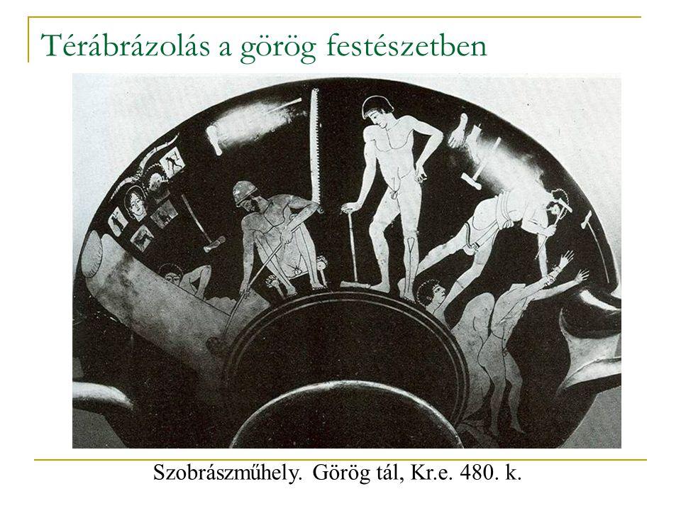 Térábrázolás a görög festészetben Szobrászműhely. Görög tál, Kr.e. 480. k.