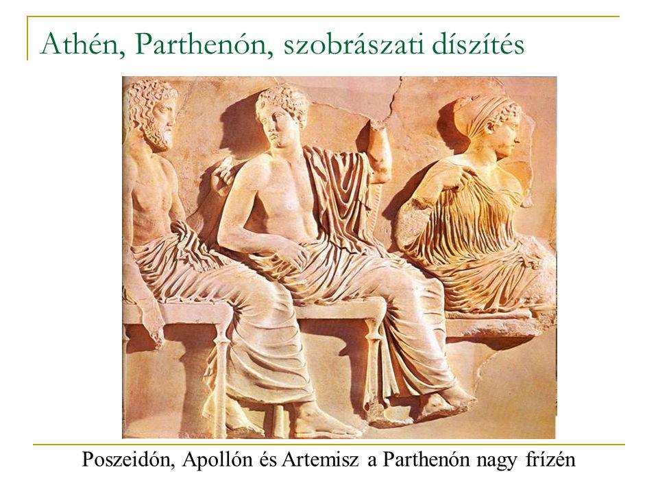 Athén, Parthenón, szobrászati díszítés Poszeidón, Apollón és Artemisz a Parthenón nagy frízén