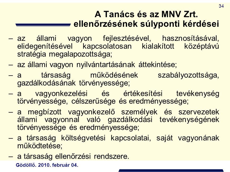 Gödöllő. 2010. február 04. 34 A Tanács és az MNV Zrt.