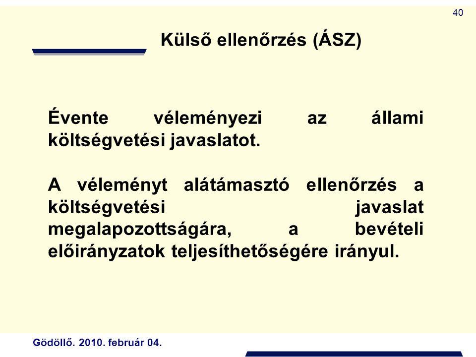Gödöllő. 2010. február 04. 40 Évente véleményezi az állami költségvetési javaslatot.