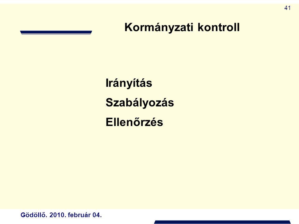 Gödöllő. 2010. február 04. 41 Irányítás Szabályozás Ellenőrzés Kormányzati kontroll