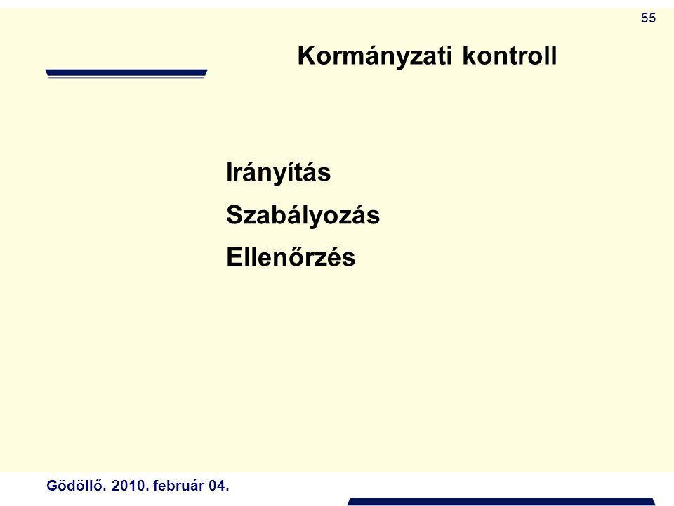Gödöllő. 2010. február 04. 55 Irányítás Szabályozás Ellenőrzés Kormányzati kontroll