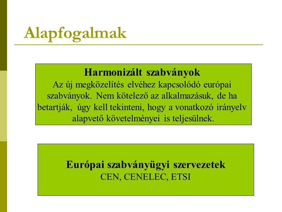Alapfogalmak Harmonizált szabványok Az új megközelítés elvéhez kapcsolódó európai szabványok.