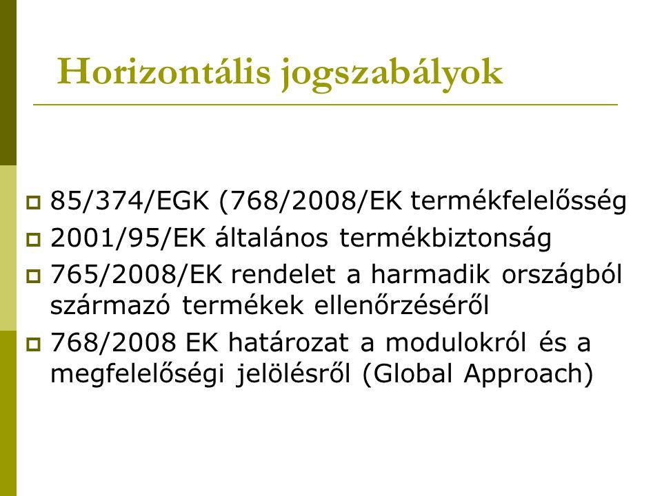 Horizontális jogszabályok  85/374/EGK (768/2008/EK termékfelelősség  2001/95/EK általános termékbiztonság  765/2008/EK rendelet a harmadik országból származó termékek ellenőrzéséről  768/2008 EK határozat a modulokról és a megfelelőségi jelölésről (Global Approach)