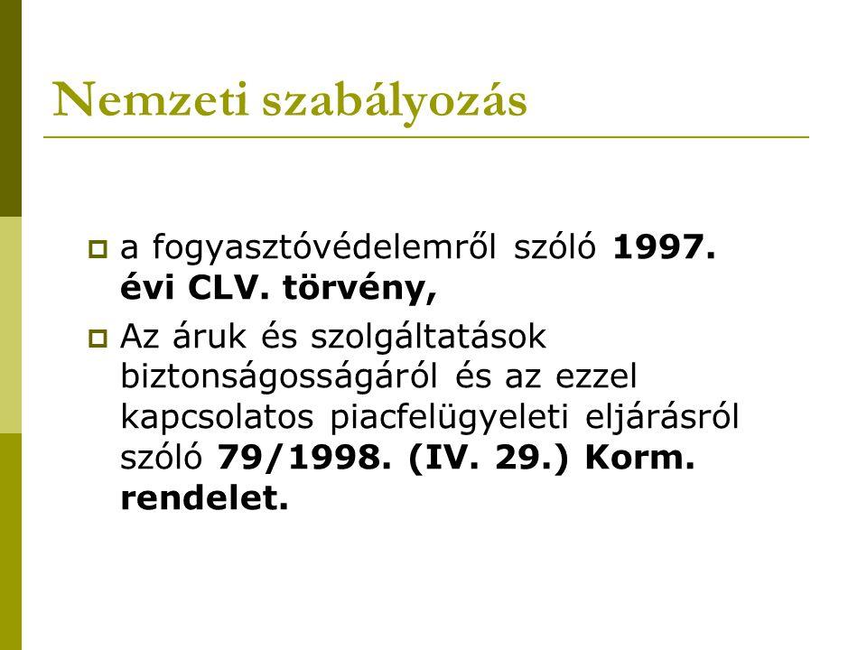 Nemzeti szabályozás  a fogyasztóvédelemről szóló 1997.