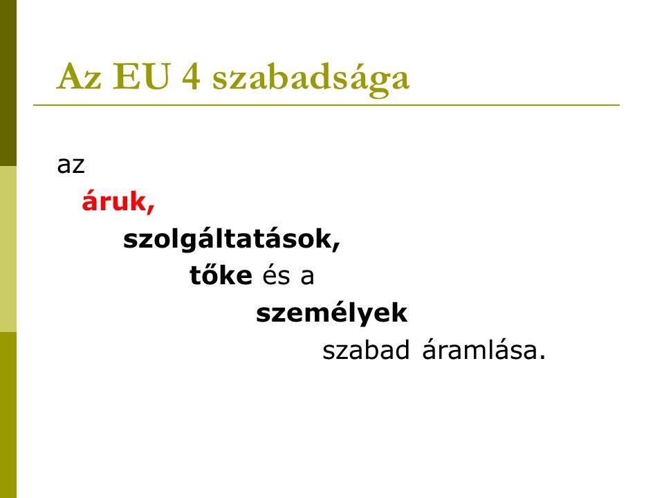Az EU 4 szabadsága az áruk, szolgáltatások, tőke és a személyek szabad áramlása.
